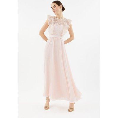Coast Frilled Sleeve Lace Bodice Maxi Bridesmaid Dress, Pink