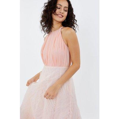 3D Textured Full Midi Dress Pink, Pink