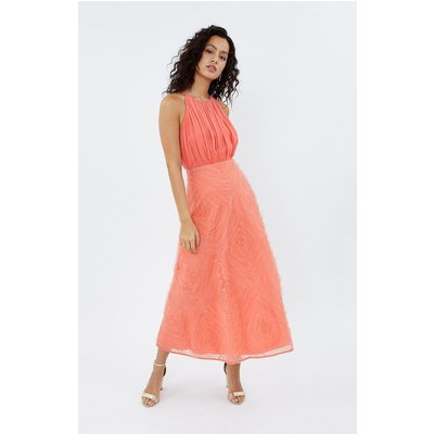 Coast 3D Textured Full Midi Bridesmaid Dress, Pink