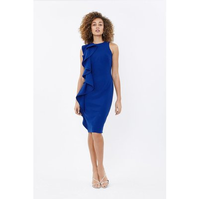 Ruffle Front Crepe Shift Dress Blue, Blue