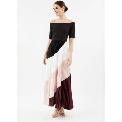Coast Colour Block Pleat Maxi Dress, Red