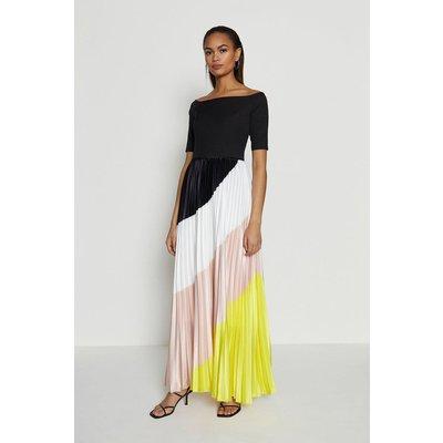 Coast Colour Block Pleat Maxi Dress -, Yellow