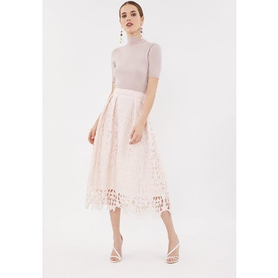 Coast Cutwork Full Midi Skirt, Pink