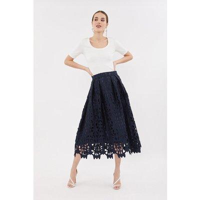 Coast Cutwork Full Midi Skirt, Navy