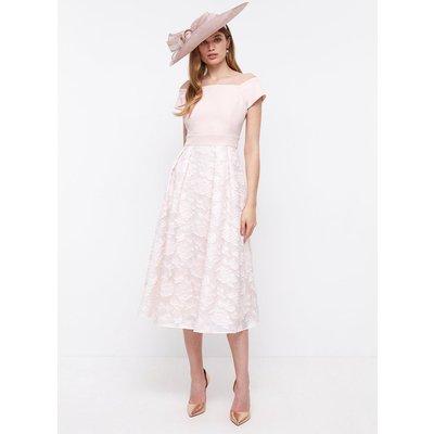Coast Bardot Neck Embroidered Midi Dress, Pink