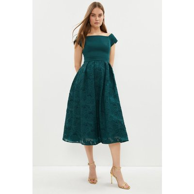 Coast Bardot Neck Embroidered Midi Dress, Green