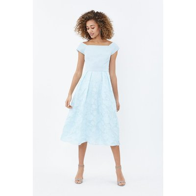 Coast Bardot Neck Embroidered Midi Bridesmaid Dress, Ice Blue