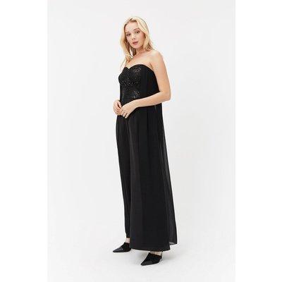 Sequin Bodice Cape Jumpsuit Black, Black