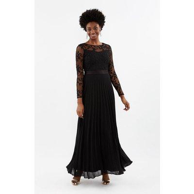 Coast Bridesmaids Embroidered Long Sleeve Maxi Bridesmaid Dress -, Black