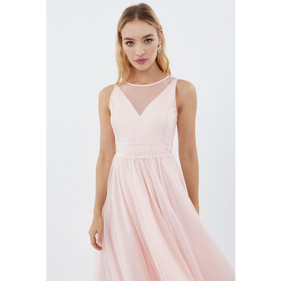 Coast Sleeveless Organza Tulle Midi Bridesmaid Dress, Pink