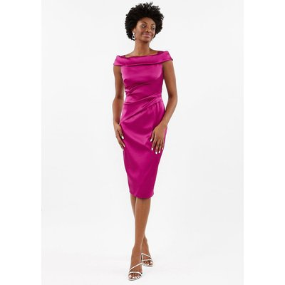 Satin Bardot Shift Dress Pink, Pink
