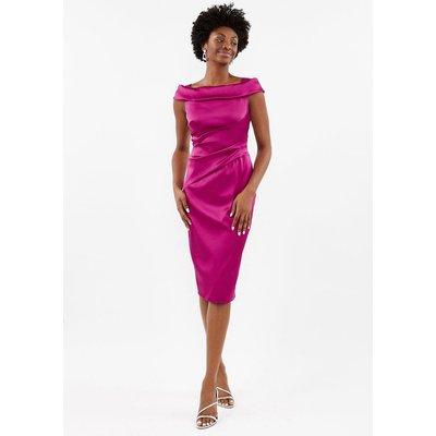 Satin Bardot Shift Dress Pink, Pink