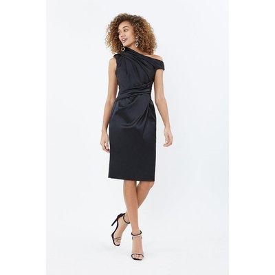 Satin Asymmetric Neckline Shift Dress Black, Black