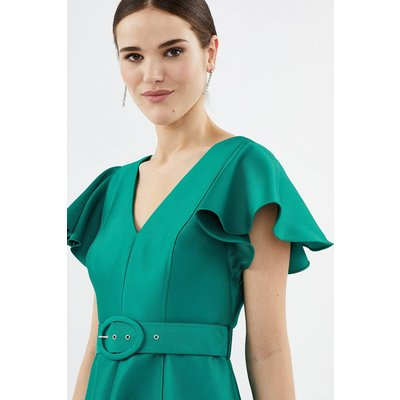 Plus Size Belted Full Midi Dress Green, Green