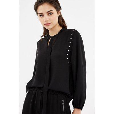 Long Sleeve Crepe Stud Detail Tie Blouse Black, Black