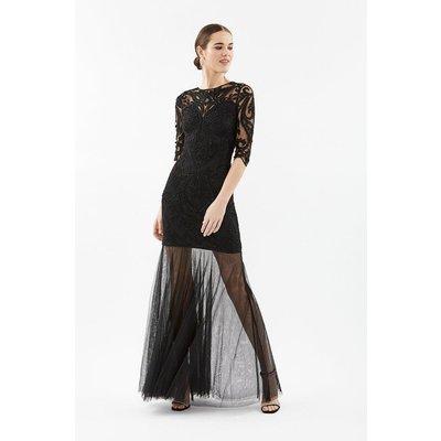 3/4 Sleeve Sequin Maxi With Fishtail Mesh Hem Black, Black