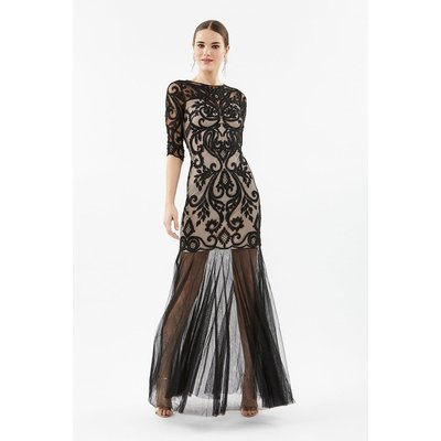 Coast 3/4 Sleeve Sequin Maxi With Fishtail Mesh Hem, Nude