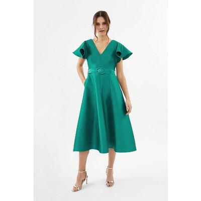 Belted Full Midi Dress Green, Green