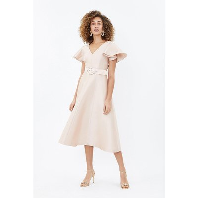 Coast Belted Full Midi Dress Mink, Navy