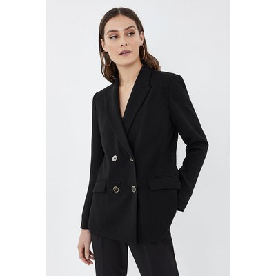 Soft Tailoring Double Breasted Jacket Black, Black