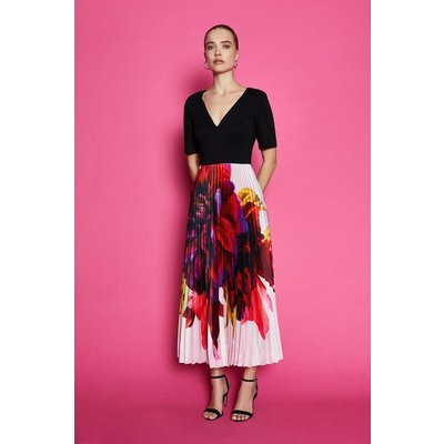 Pleated Print Midi Dress Multi, Multi