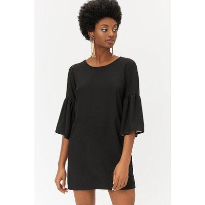 Bell Sleeve Smock Dress Black, Black