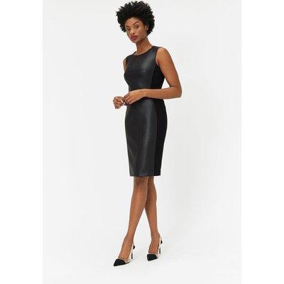 PU & Ponte Panelled Dress Black, Black