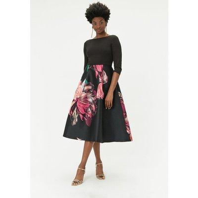 Printed Full Skirt Midi Dress Multi, Multi