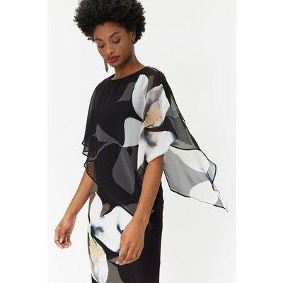 Plus Size Abstract Floral Overlayer Dress Blackwhite, Blackwhite