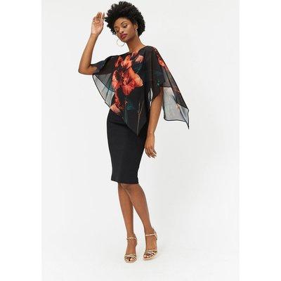 Caped Floral Dress Multi, Multi
