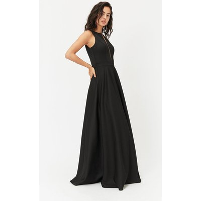 Satin Maxi Tulle Underskirt Dress Black, Black