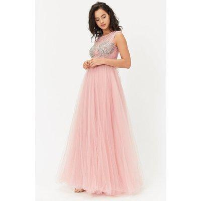 Diamante Tulle Maxi Dress Pink, Pink