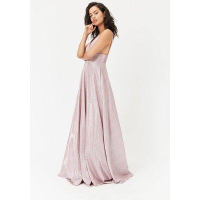 Metallic Strappy Maxi Dress Pink, Pink