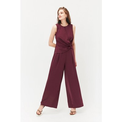 Curve Twist Front Jumpsuit Red, Red
