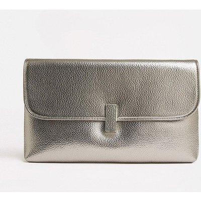 Coast Metallic Clasp Clutch Bag Pewter, Grey