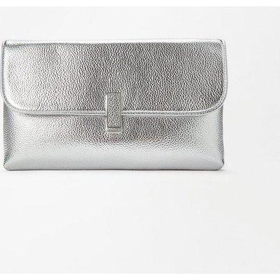 Coast Metallic Clasp Clutch Bag, Silver