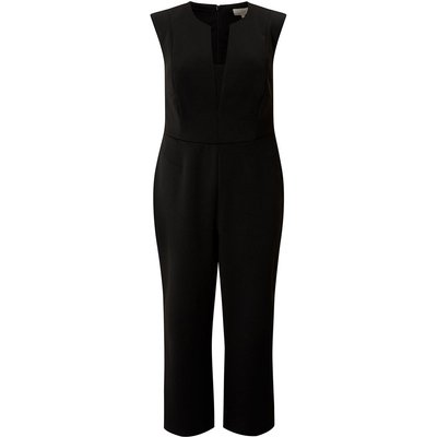 Plus Size V Neck Jumpsuit Black, Black