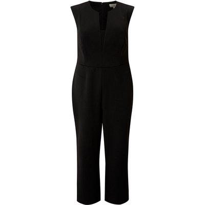 Curve V Neck Jumpsuit Black, Black