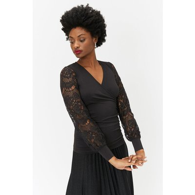 Interest Sleeve Jersey Top Black, Black