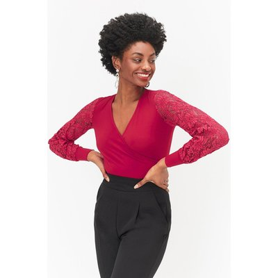 Interest Sleeve Jersey Top Red, Red