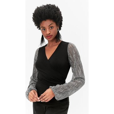 Interest Sleeve Jersey Top Silver, Silver