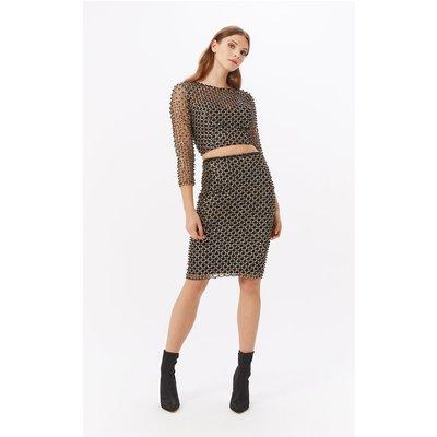 Beaded Sequin Co-ord Midi Skirt Black, Black