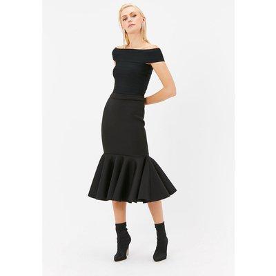Scuba Peplum Hem Midi Skirt Black, Black