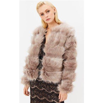 Faux Fur Panelled Jacket Beige, Beige