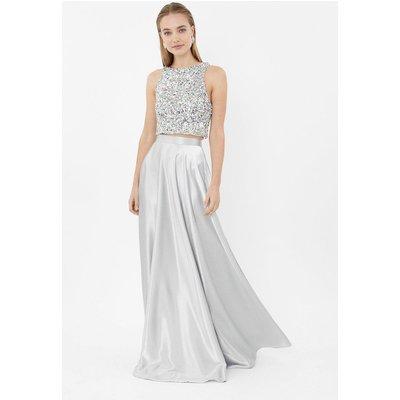 Coast Satin Maxi Skirt -, Grey