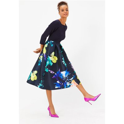 Coast Solid Bodice Full Midi Dress, Multi