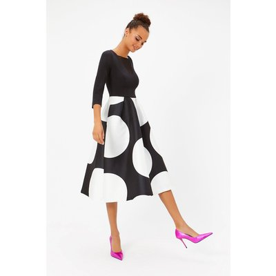 Solid Bodice Full Midi Dress Blackwhite, Blackwhite