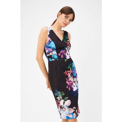Floral Print Scuba Dress Multi, Multi