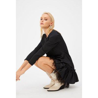 Feather Frill Hem Dress Black, Black