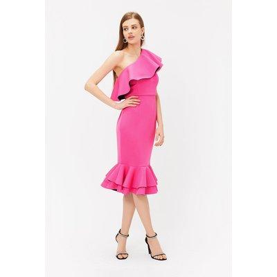Ruffle One Shoulder Dress Pink, Pink